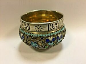 Very Rare Imperial Russian Enamel 84 Silver Salt Cellar 916 Silver 19th Century