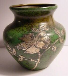 Heintz Sterling Silver Bronze Verde Vase American Arts And Crafts