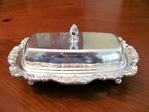 Vintage Poole Silverplate Ornate Floral Scrollwork Butter Dish W Lid Dish