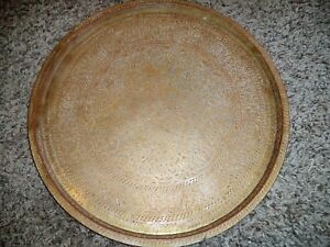 Antique Islamic Brass Bronze Tray Arabic Calligraphy Persian Middle East Nice
