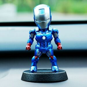 Car Accessory Decoration Toys Iron Man With Shaking The Head Dashboard Doll Blue
