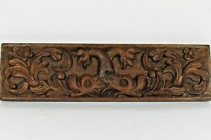 Antique Carved Oak Wood Dolphin Fish Drawer Front