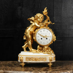 Superb Antique French Ormolu And White Marble Clock Cupid