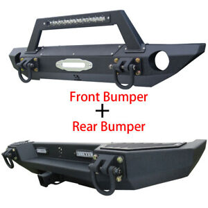 For Unlimited 07 18 Jeep Jk Wrangler Front rear Bumper With 120 W Led Light Bar