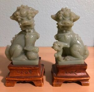 Signed Pair Faux Jade Green Resin Foo Dog Lion Chinese Guardian Asian England