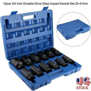 12pcs 3 4 Inch Durable Drive Deep Impact Socket Set 24 41mm With Case Us Seller