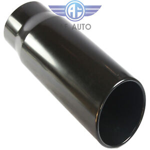 Black 5 Inlet 6 Outlet 15 Long Rolled End Angle Cut Tail Pipe Exhaust Tip