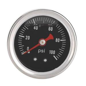 0 100 Psi Bar Car Fuel Pressure Regulator Gauge Liquid Fill Fuel Meter Universal