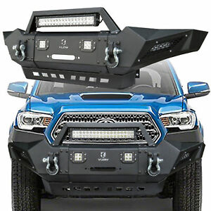 Fit 2005 2015 Toyota Tacoma Front Bumper Texture Black With 4 X 18 W Led Ligh