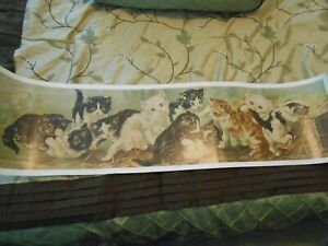 Vintage Victorian Yard Long Yard Of Kittens Cats Picture Art Print Dated 1982