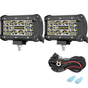 2x 5 350w Cree Led Offroad Work Driving Light Bar Reverse Fog Lamp 4row Wiring