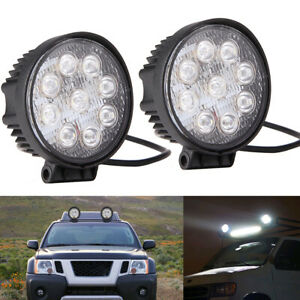 2x 4 Round 27w Led Auto Work Fog Lights Flood Spot Lamp For Off Road Suv Atv