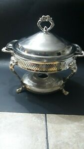 Silverplate Chafing Dish With Glass Insert