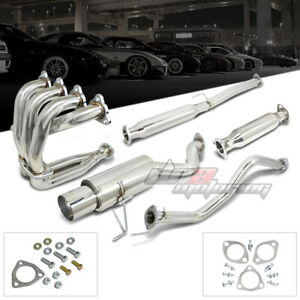 For 1996 2000 Honda Civic Hatchback 4 5 tip Exhaust Catback Header Manifold Kit