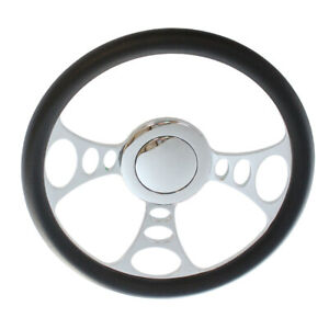 14 9 bolt Chrome Half Wrap Pvc Steering Wheel Smooth Horn Button For Chevy gm