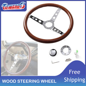 15 Wooden Steering Wheel Classic Wood Horn Kitwith Momo Sparco Omp Adapters