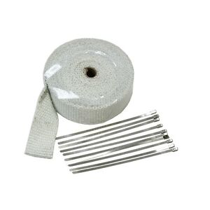 2 32ft White Fiberglass Exhaust Header Pipe Heat Wrap Tape 10 Ties Kit