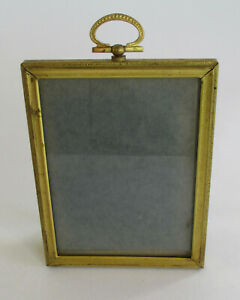 Small Antique Metal Filigree Glass Picture Frame Wreath Decorated Loop Vintage