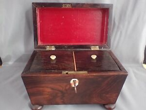 Antique 1800 Rosewood Sarcophagus Casket Double Tea Caddy Box With Inserts Key