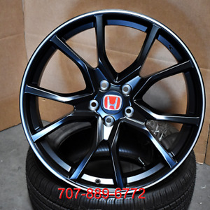 20x8 Type R Style Satin Black Machined Wheels Fits Honda Civic Accord Rims Fk8