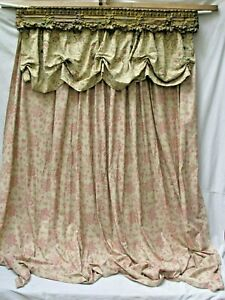 Antique Brass Embossed Ornate Valance With Ralph Lauren Drapery For A Bed