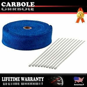Blue Header Shield Wrap Tape Kit 10 Stainless Ties For Car Motorcycle 2 X 50