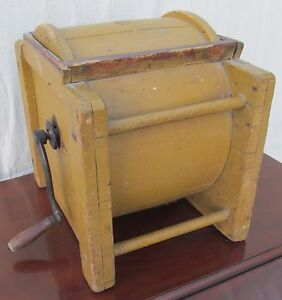 19th Century Primitive Butter Churn In Original Mustard Yellow Paint