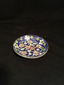 Vintage Antique Chinese Hand Made Cloisonne Small Plate With Plumas Flowers