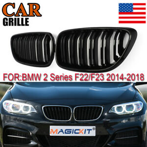 Pair Double Slat Front Kidney Grills Grille Trim For Bmw F22 F23 F24 Gloss Black