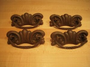 Set Of 4 Antique Brass And Iron Ornate Drawer Pulls 3 Center To Center Screws