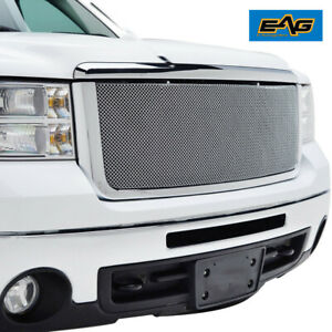 Eag Chrome Mesh Grille W shell Fit For 2007 2010 Chevy Silverado 2500 3500