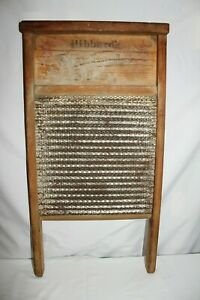 Vintage Antique Washboard Hibbard S Star Leader Silver Laundry Room Scrub Board
