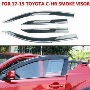 4pc Fit Toyota C Hr Chr 17 19 Sun Shade Rain Smoke Window Visors Tint W Chrome