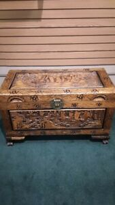 Asian Chinese Hand Carved Wood Chest Trunk Sailboat Vintage Antique