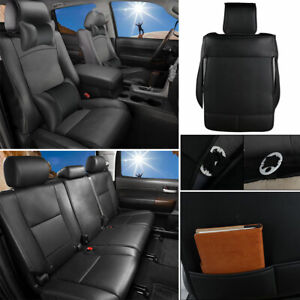 Black Pu Leather Seat Cover Set Fits For 4 door 5 seat Toyota Tundra 2007 2019