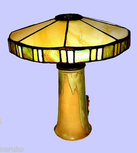 Rare American Arts Crafts Pottery Lamp Base Leaded Stained Glass Shade