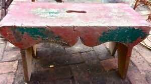 Vintage Old Wood Painted Bench Stool Rustic Primitive Bootstrap Legs Red Green