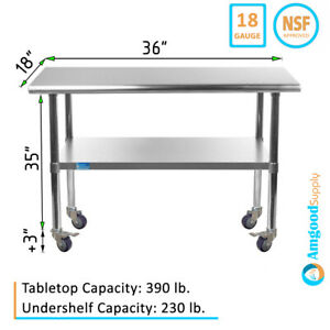 Stainless Steel Work Table W Casters 18 X 36 Food Prep Nsf Utility Bench