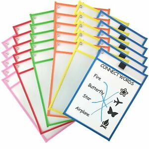 Clipco Dry Erase Pocket Sleeves Assorted Colors 30 pack