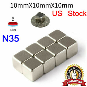5 200pcs Neodymium N35 Block Square Cube Magnets Strong 10x10x10mm Rare earth Us
