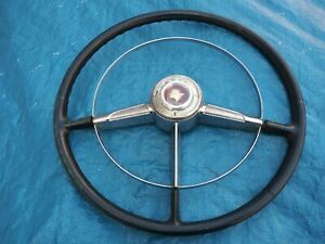1953 1954 Pontiac Steering Wheel With Chrome Horn Ring 51 52 53 54