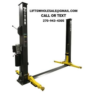 Titan Premiere 9 000 Lbs 2 post Auto Lift Floorplate Model Asymmetric Arms