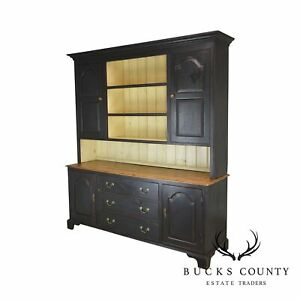 Monumental Custom Crafted Reproduction Country Painted Pine Step Back Hutch