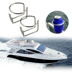 2pcs Stainless Steel Ring Cup Drink Holder Polished Boat Marine Yacht Deck Cabin