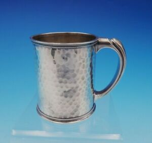 Whiting Sterling Silver Baby Cup Hammered With Beaded Border 341 3505