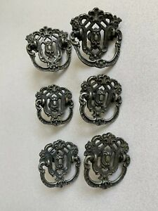 Solid Brass Art Nouveau Vintage Dresser Pulls 6 Piece Set Stamped
