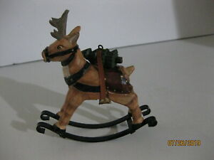 Hand Carved Wooden Reindeer 4 1 2 X 4 7 8