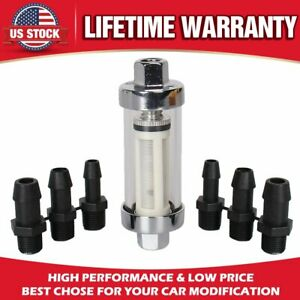 9706 Clearview Inline Fuel Filter Chrome Hose 1 4 In 5 16 In 3 8 In Id Hose