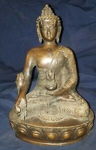 Antique 12 Mandalay Burmese Bronze Medicine Buddha Signed