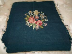 Antique Needlepoint Floral Roses Vintage Pillow Cushion Stool Seat Cover